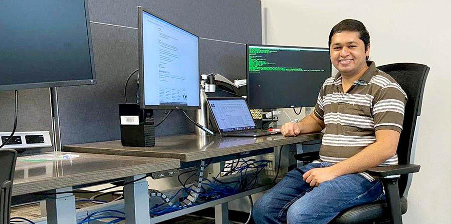 Arun Zachariah at his internship with Arm.