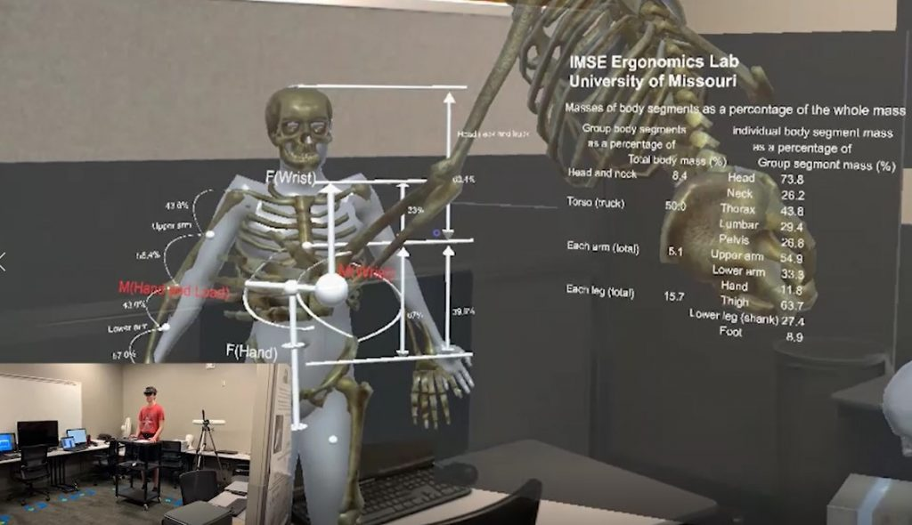 Graphic of augmented reality environment with human skeletal system and educational materials.